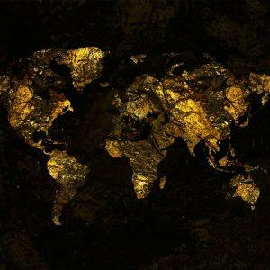 Behang - Gold Map