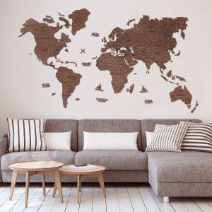 Houten Wereldkaart 2D - Eiken