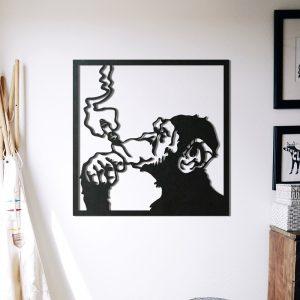 Metalen wanddecoratie - Monkey