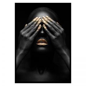 Shy Women zwart goud poster