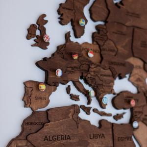 Houten Wereldkaart 3D - Eiken