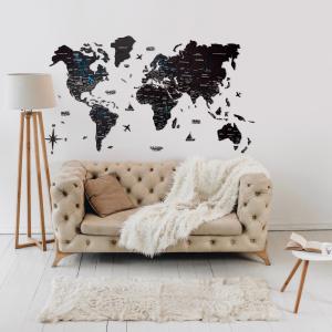 Houten Wereldkaart 3D - Zwart