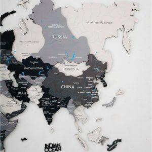 Houten Wereldkaart 3D - Grijs