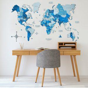Houten Wereldkaart 3D - Blauw