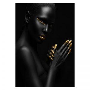 Aluminium Dibond Plexiglas zwart goud Dancing Women poster