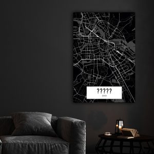 Aluminium Dibond Plexiglas City Map Dark poster