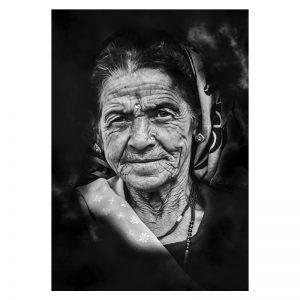 Aluminium Dibond Plexiglas Old Women zwart wit poster