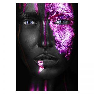 Aluminium Dibond Plexiglas zwart paars Purple Women poster