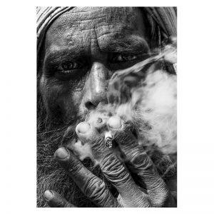 Aluminium Dibond Plexiglas Smoking Guy zwart wit poster