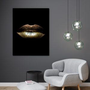 Gold Lips zwart goud poster