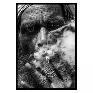 Smoking Guy zwart wit poster