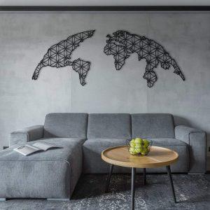 Metalen wanddecoratie - World Map 7