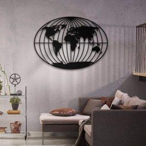 Metalen wanddecoratie - World Map Round