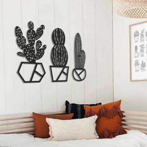 Metalen wanddecoratie - Cactus