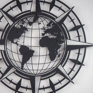 Metalen wanddecoratie - Compass Map