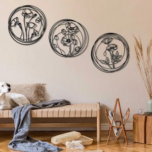 Metalen wanddecoratie - Flowers