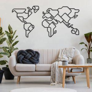 Metalen wanddecoratie - World Map 8