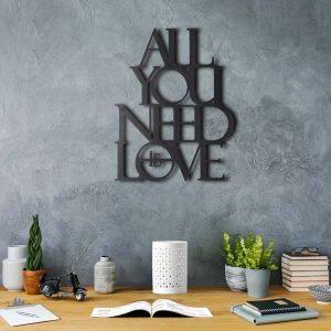 Metalen wanddecoratie - All You Need is Love