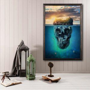 Houten poster - Skull