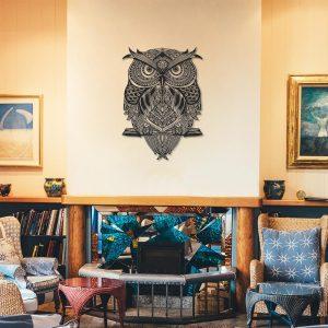 Metalen wanddecoratie - Owl