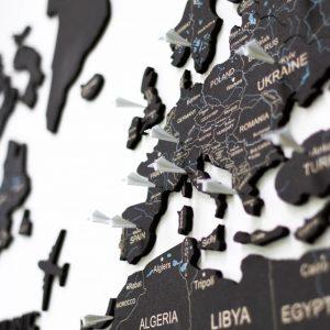 Houten Wereldkaart 2D - Kurk Zwart