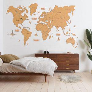 Houten Wereldkaart 2D - Kurk