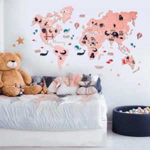 Houten Wereldkaart 2D - Roze