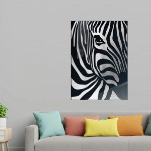 3D Aluminium poster - Zebra Silver 1