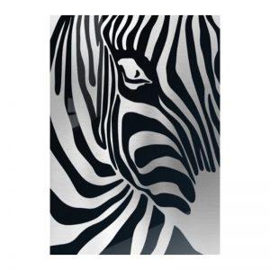 3D Aluminium poster - Zebra Silver 2