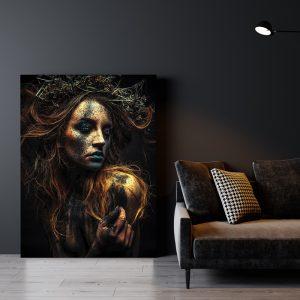 Aluminium Dibond Plexiglas Dirty Women zwart goud poster