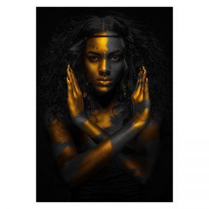Aluminium Dibond Plexiglas Fighting Women zwart goud poster
