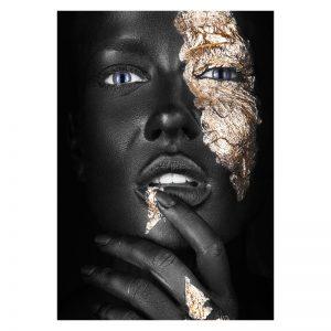 Aluminium Dibond Plexiglas Thinking Women zwart goud poster