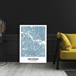 Aluminium Dibond Plexiglas City Map - Blauw
