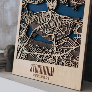 3D Houten City Map - Stockholm