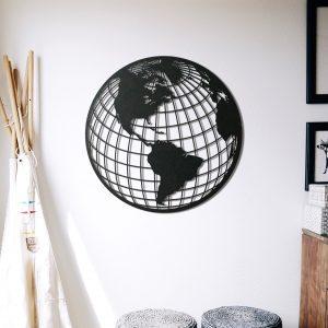 Metalen wanddecoratie - World Map Cirkel