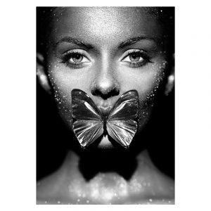 Aluminium Dibond Plexiglas Butterfly Women zwart wit poster