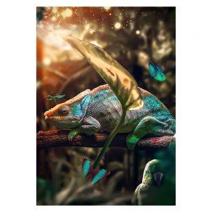 Aluminium Dibond Plexiglas Chameleon botanische jungle dieren poster