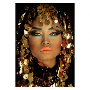 Aluminium Dibond Plexiglas Decorated Women zwart goud poster