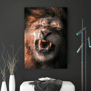 Fighting Lion poster botanisch jungle dieren