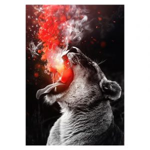 Aluminium Dibond Plexiglas Fire Tiger botanische jungle dieren poster