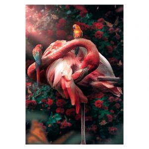 Aluminium Dibond Plexiglas Flamingo botanische jungle dieren poster