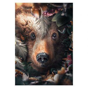 Aluminium Dibond Plexiglas Flower Bear botanische jungle dieren poster