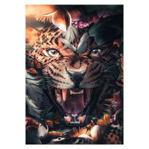 Aluminium Dibond Plexiglas Flower Jaguar botanische jungle dieren poster