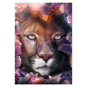 Aluminium Dibond Plexiglas Flower Leopard botanische jungle dieren poster