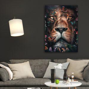 Flower Lion poster botanisch jungle dieren