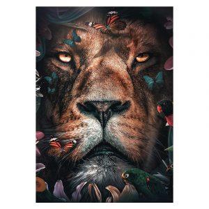 Aluminium Dibond Plexiglas Flower Lion botanische jungle dieren poster