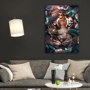 Flower Tiger poster botanisch jungle dieren