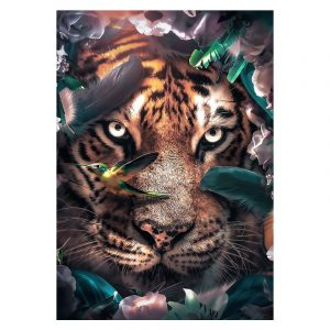 Aluminium Dibond Plexiglas Flower Tiger botanische jungle dieren poster