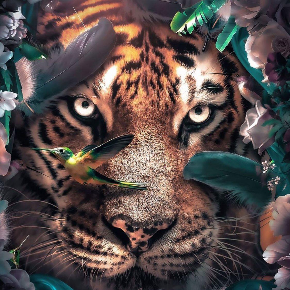 Flower Tiger poster closeup