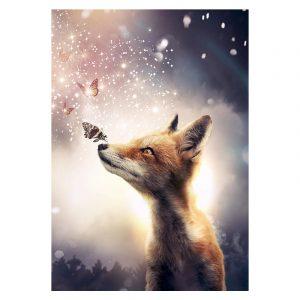 Aluminium Dibond Plexiglas Fox botanische jungle dieren poster